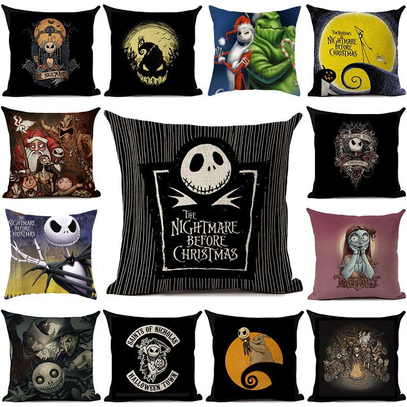 Details about The Nightmare Before Christmas Throw Pillow Case Cushion Cover Halloween Home