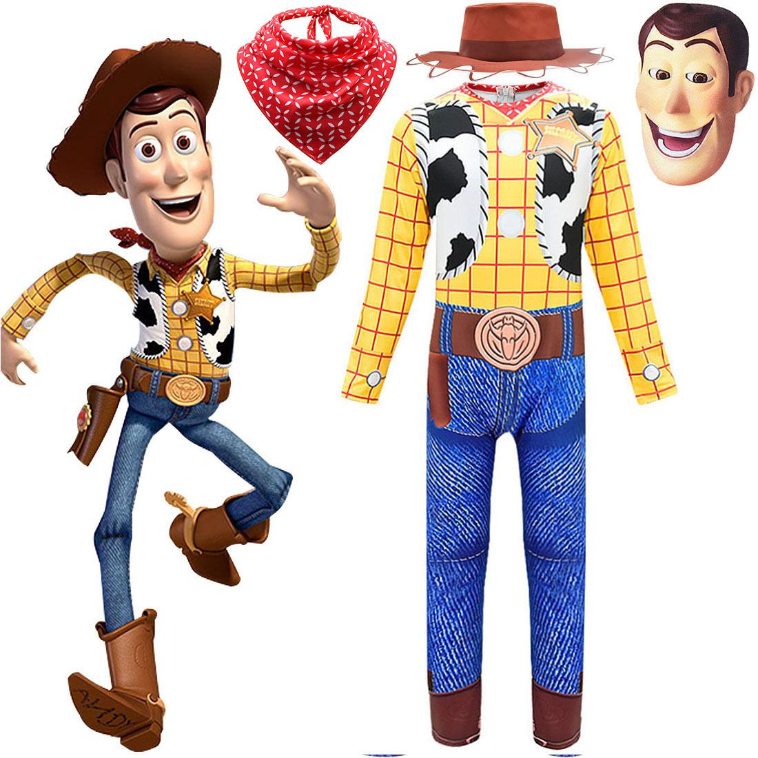 costume Kids Cowboy Woody Costume Set Boys Fancy Dress Hat Scarf Cosplay Party Hallow