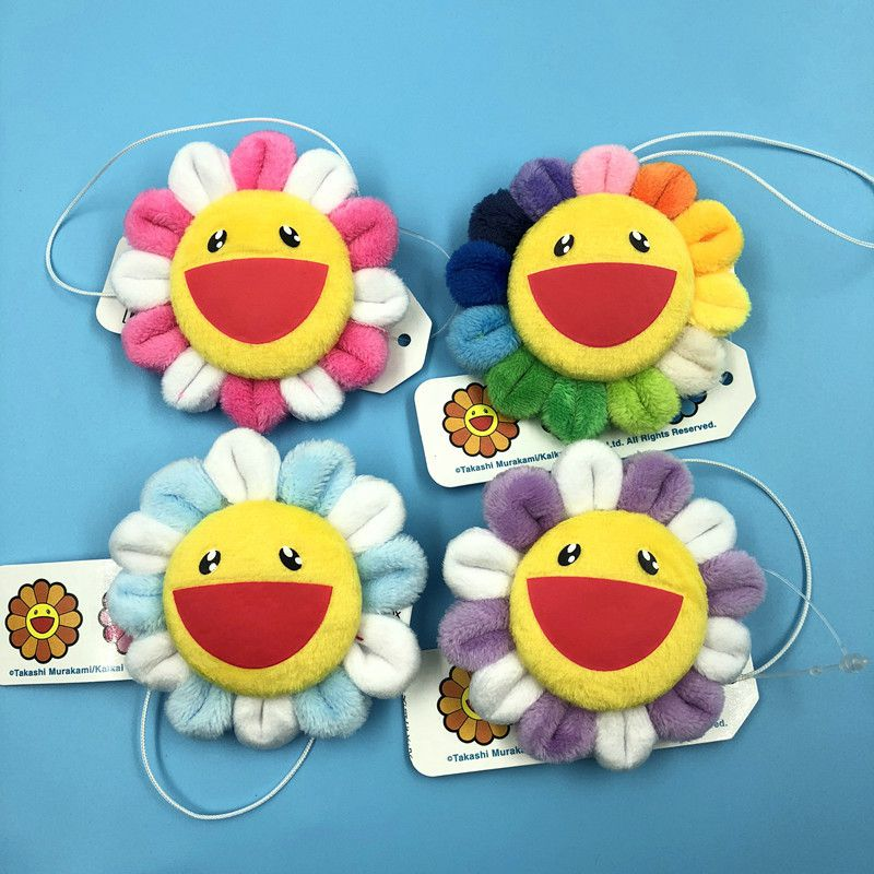 Takashi Murakami Flower Rainbow Pin Badge Plush Key Chain Kawaii Kaikai Kiki