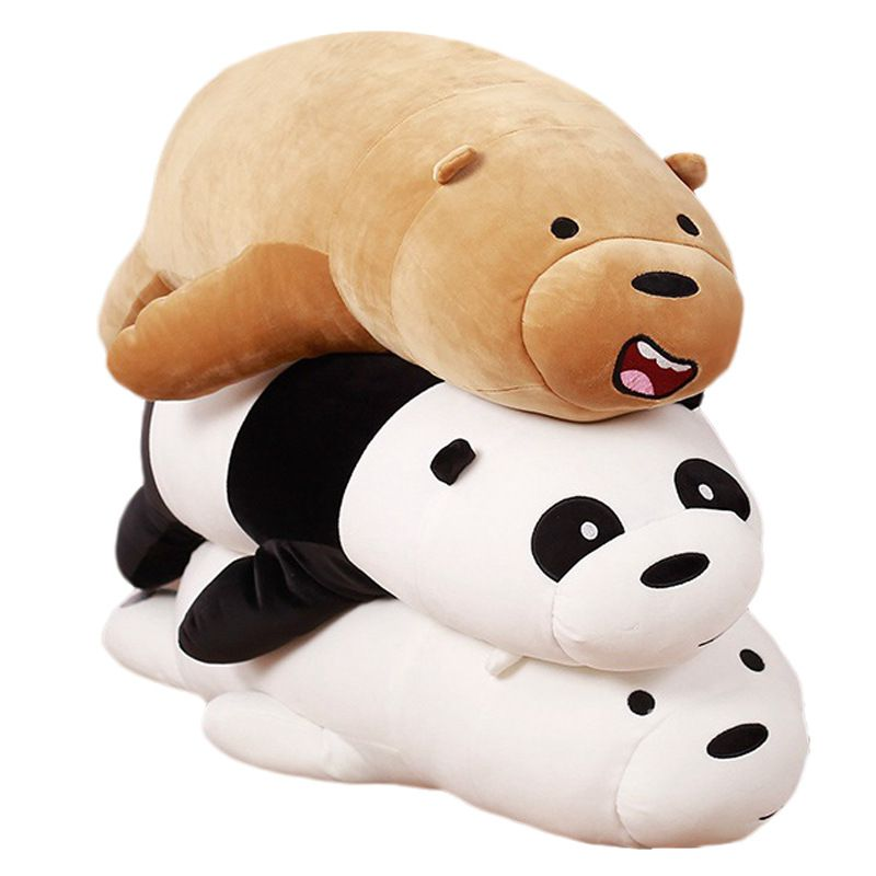 NEW We Bare Bears Peluches Grizzly Panda Ice Plush Doll Kids Toy 50cm Super Soft