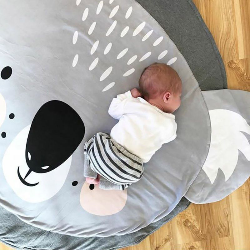 Baby Kids Cotton Floor Rug Round Game Gym Activity Play Mat Crawling Blanket