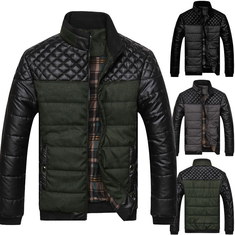 MEN FISHTAIL PARKA JACKET QUILTED PADDED WARM HOODED CAUSAL WINTER COAT OVERCOAT