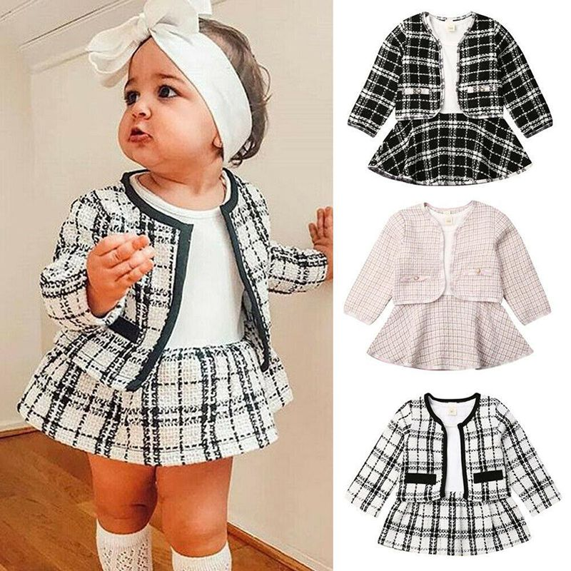 UK 2PCS Toddler Baby Girl Warm Clothes Outfits Plaid Coat Tops+Dress Party Set