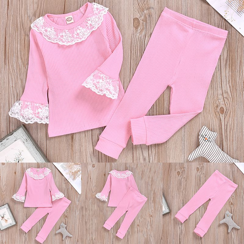 UK Pretty Toddler Baby Girls Clothes Lace Ruffle Tops T-shirt Pants Outfit Set